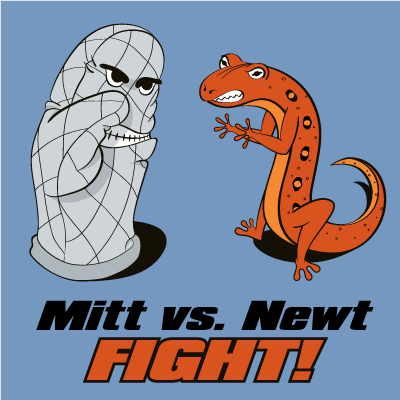 A cartoon depiction of Mitt Romney as an oven mitt fighting Newt Gingrich as a red eft