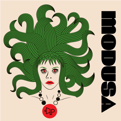 A t-shirt design for the Parlotones featuring a Mod girl resembling Medusa