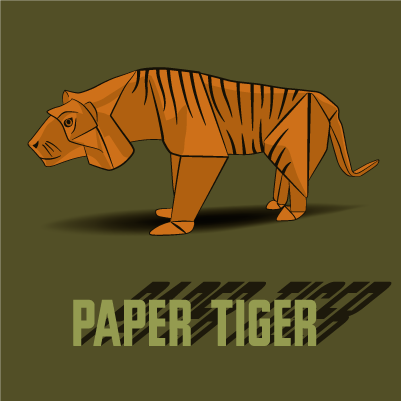 An illustration of an origami tiger
