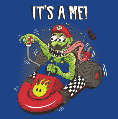 Mario in his Mario Kart in the the style of Ed Big Daddy Roth