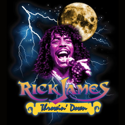 A t-shirt design depicting Rick James howling at the moon